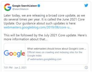 Aankondiging core update Google